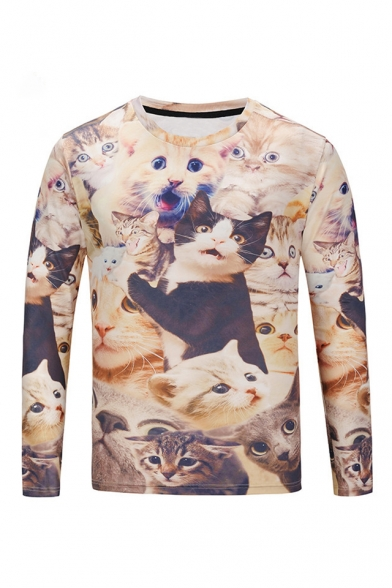 Digital Adorable Cat Printed Round Neck Long Sleeve Tee