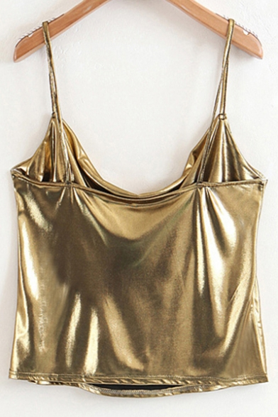 Party Gold Style Cami Fabric Plain Spaghetti Straps Top Cropped 55rRdCqwx