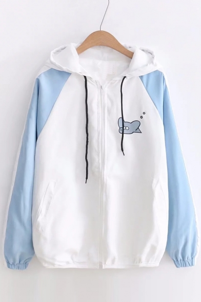 Top Pattern Block Cartoon Dog Fashion Jacket Zip Cat Hooded Up Outdoor Color HrqH6w4