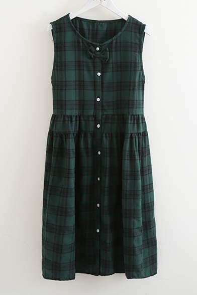 Round Bow Front Smock Midi Neck Vintage Tartan Plaids Button Dress Style tO1nnqPxU