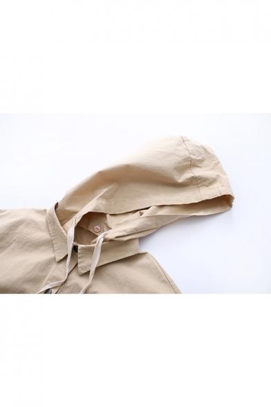 Leisure Drawstring Detail Button Down Hooded Chest Pocket Plain Coat