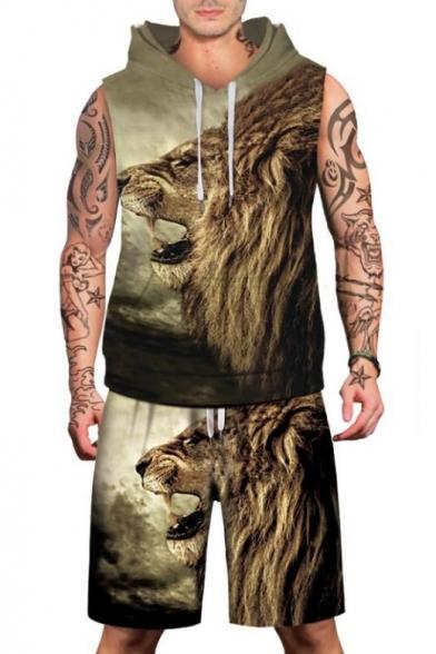 Мужской модный Лев печать без рукавов с капюшоном спортивные шорты
