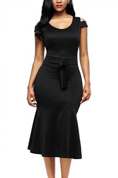 Simple Plain Round Neck Cold Shoulder Short Sleeve Midi Bodycon Dress