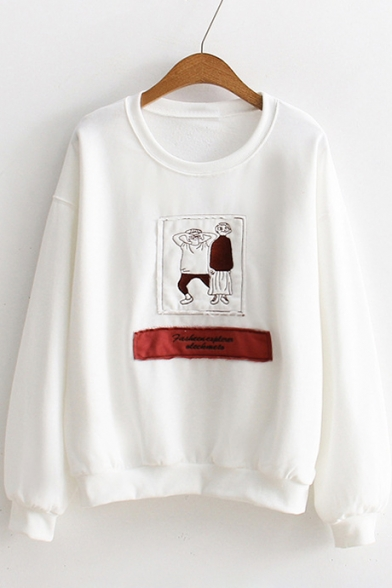 Sleeves Long Graphic Pullover Letter Round Sweatshirt Cartoon Neck Patched Pattern Chic 8q70RwB