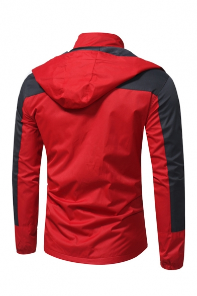 Color Block Stand Up Collar Long Sleeve Zip Up Dust Coat with Pockets