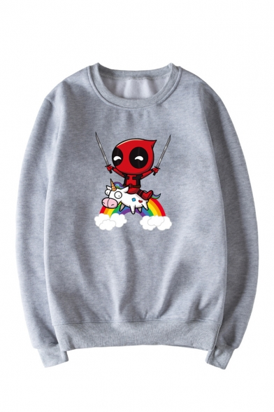 Ninja Comic Sleeve Printed Long Cartoon Rainbow Sweatshirt Neck Round Unicorn Pullover 55wOPq