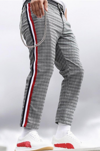 Man's Popular Leisure Color Block Stripes Side Plaids Printed Straight Pants