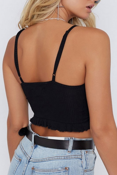 Summer Collection Ruched Bow Front Spaghetti Straps Cropped Cami
