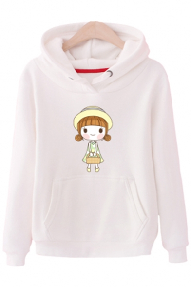 Adorable Cartoon Litter Girl Printed Long Sleeve Leisure Hoodie