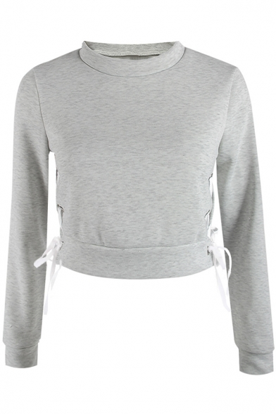 Long Mock Plain Cropped Pullover Sleeve Up Sweatshirt Chic Neck Lace Side PtawU7pxq