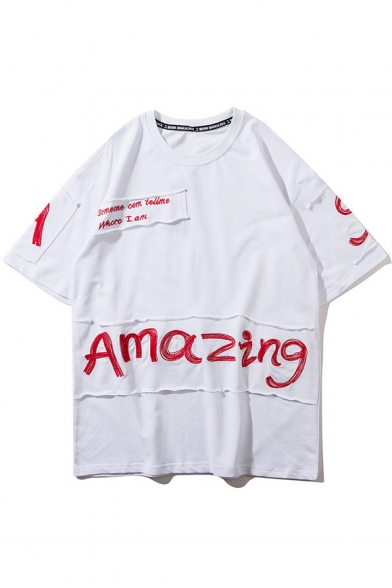 Embroidered Simple Short Tee Sleeve Chic Neck Round Letter fEwpqgz