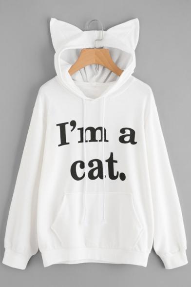 Hoodie Printed Embellished Simple Sleeve Hood Chic Letter Ears Long Cat Leisure q4vxP1wg