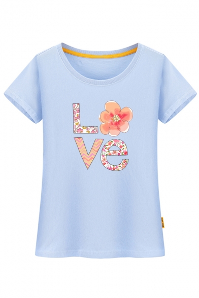 Sleeve Tee Short Letter Leisure Neck Round Comfort Printed Floral xqOaw1W8Y
