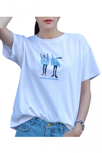 Printed Short Tee Neck Sleeve Comic Cartoon Letter Round Character qnxWzCftwA