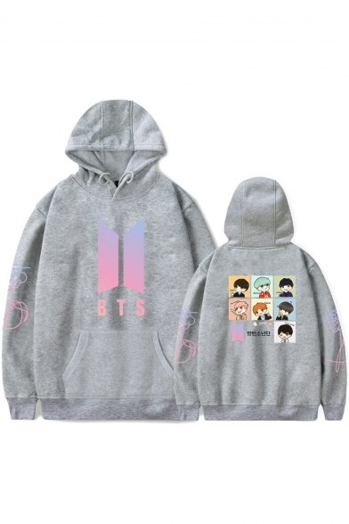 Cute Cartoon Letter BTS Print Long Sleeves Pullover Unisex Hoodie