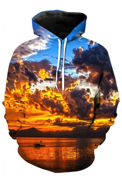Cloudy Sky Sleeve Printed Hoodie Loose Digital Long Leisure zCfdFwFqpW