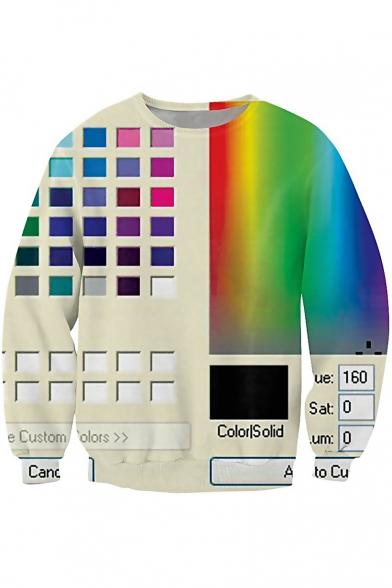 Digital Colorful Printed Round Neck Long Sleeve Pullover Unisex Sweatshirt