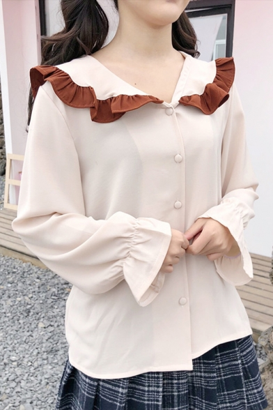 Doll Collar Color Block Long Sleeve Buttons Down Shirt