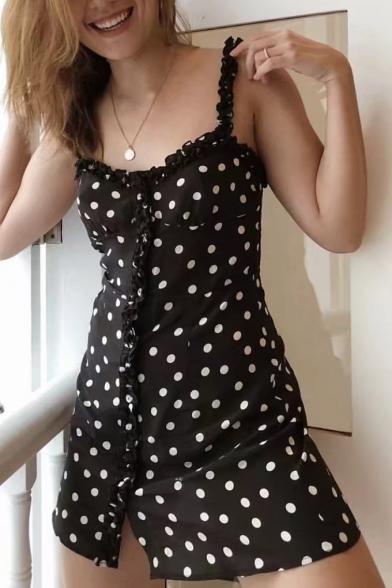 Fancy Polka Dot Print Spaghetti Straps Ruffle Detail Button Front Mini Cami  Dress ... 2905f56fa