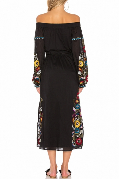 Beach the Floral Fashionable Dress Midi Split Belted Off Shoulder Tassel Side Embroidered vwwagnTq5
