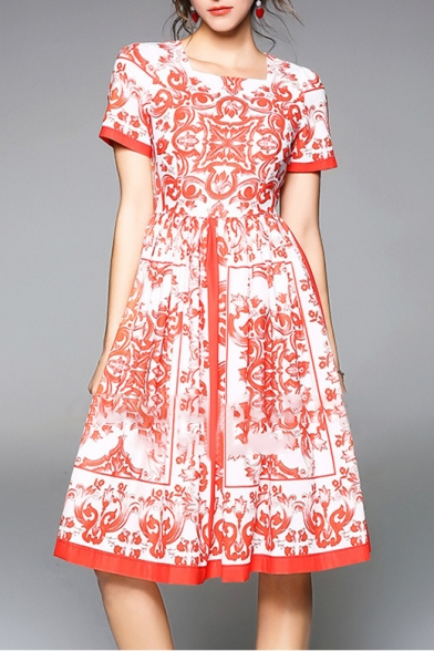 Lady Floral Printed Square Neck Short Sleeve Midi A-Line Dress