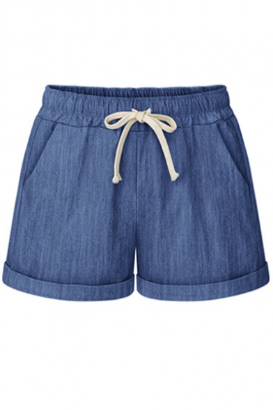 Leisure Roll Cuff Drawstring Waist Plain Shorts with Pockets