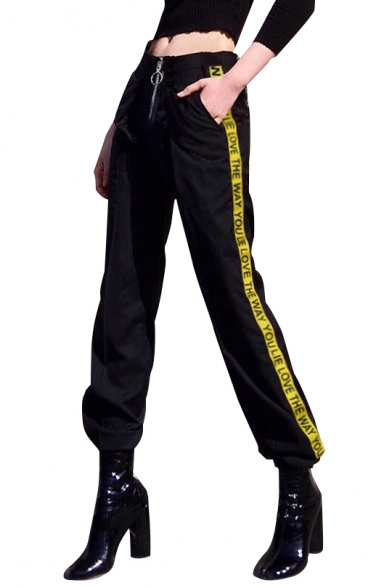 Letter Printed Contrast Striped Side Zipper Fly Loose Pants