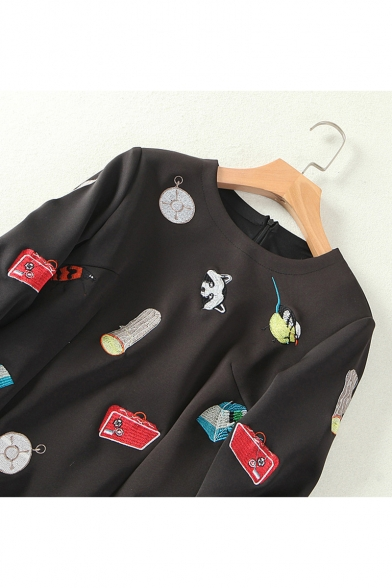 New Arrival Raccoon Wood Beetle Embroidered Round Neck Long Sleeve Mini Shift Dress