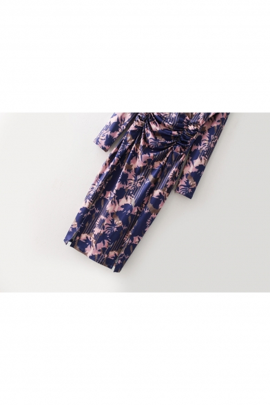 Pop Fashion Round Neck Ruched Waist Long Sleeve Split Side Midi Pencil Dress