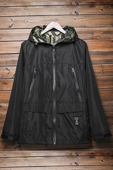 Popular Sleeves Utility Zippered Pocket Camouflaged Hooded Jacket Pattern Detail Long vHrvX