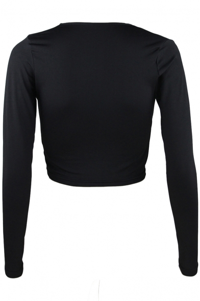 Sexy Knotted Plunge Cropped Long Front Tee Neck Plain Sleeve qE16qrRw