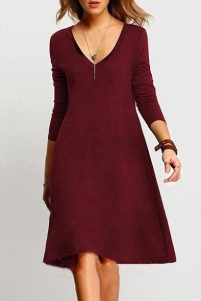 Simple Basic Plain V-Neck Long Sleeve Mini Swing Dress