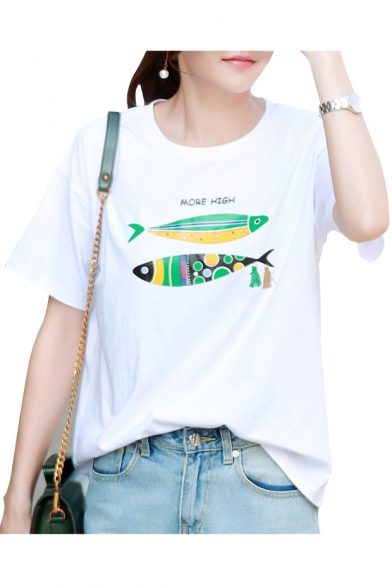 Simple Popular Letter Fish Printed Round Neck Short Sleeve Leisure Tee
