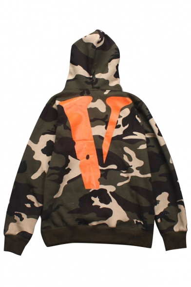 Pattern Camouflaged Sleeves Long with Pullover Pocket Letter V Stylish Hoodie qZ4S1S