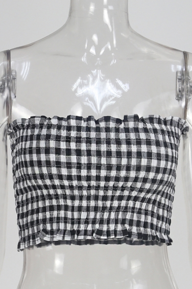 Monochrome Sleeveless Slim Collection Bandeau Printed Classic Summer Cropped ZwEOcBqBn