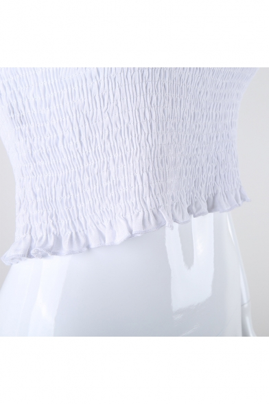 Detail Tee the Ruched Off Summer Plain Summer Slim Shoulder Collection Cropped XIRnRvx