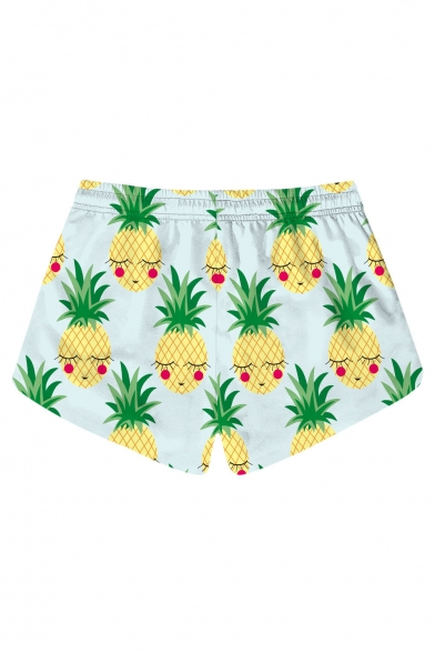 Summer Fashion Pineapple Printed Drawstring Waist Shorts with Pockets