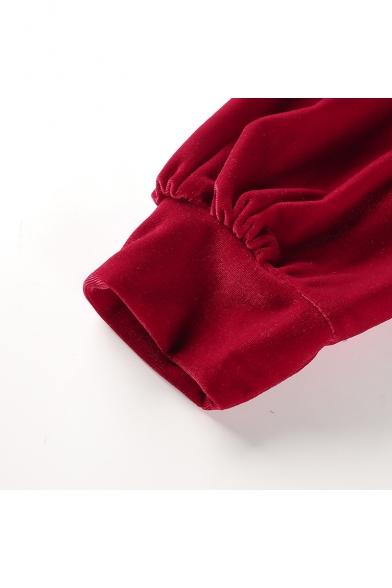 Women's Fashion High Neck Long Sleeve Cropped Plain Velvet Sweatshirt