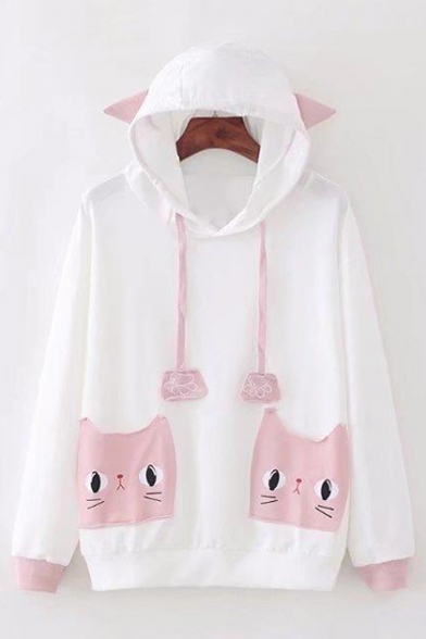 Cat's Ears Embellished Hood Leisure Long Sleeve Hoodie with Cat Pattern Pockets