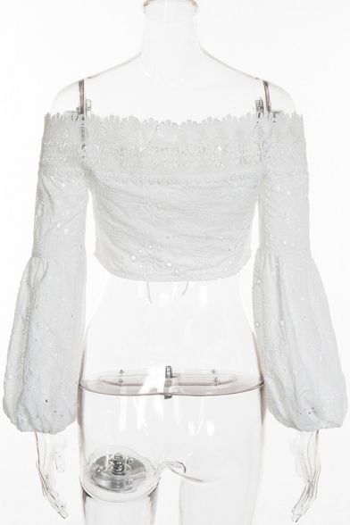 Cropped Lantern Front Chic Shoulder Plain Out Up Blouse The Hollow Sleeve Off Lace PrPxXv