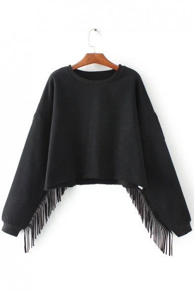 Cropped Neck Round Detail Sleeves Tassel Chic Sweatshirt Pullover Long Hw0tnq