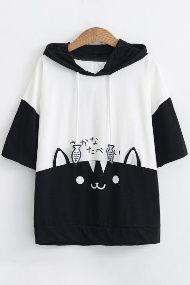 Color Block Cat Japanese Printed Fish Pattern Embellished Short Sleeve Hooded Tee