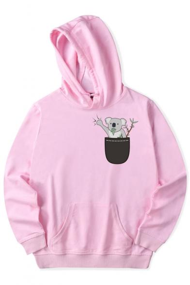Cute Lovely Koala Print Long Sleeves Pullover Hoodie with Pocket