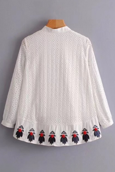 Popular Embroidery Panel Hem Front Shirt Fancy Dipped Detail Lace Button Pompom TdgTqA