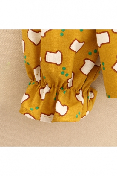 Long Blouse Printed Sleeve Geometric Ruffle Contrast Cuff Collar Caw00qdt