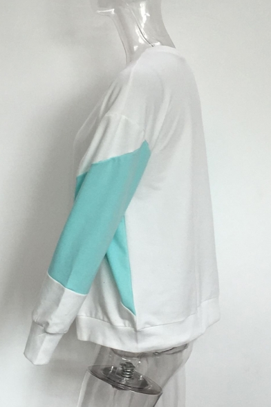 Sleeves Casual Pullover Sweatshirt Color Sale Hot Long Neck Block Round B6xY1nHqFw