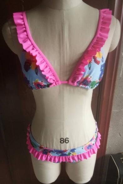 Beach Ruffle Detail Print Bikini Lovely Summer Bow Floral Back Rq7xU0