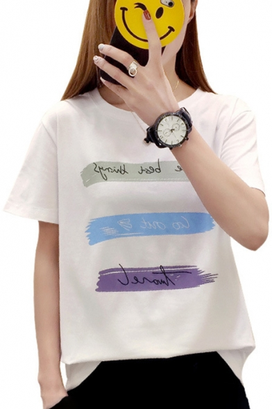 Neck Print Paint Short Leisure Round Natural Tee Letter Sleeves wqgB1xIZ