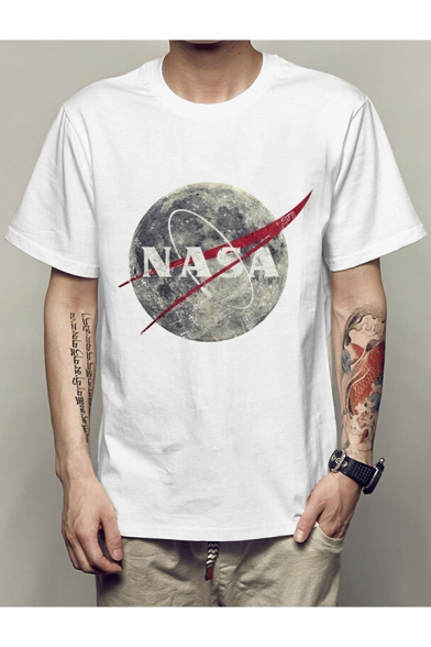 Print Short Neck Tee Sleeves Letter Earth Round Popular Summer BnHT7T