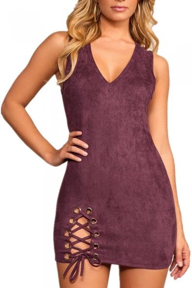 f92e6db751dd Popular Fashion V-Neck Sleeveless Lace-up Detail Plain Mini Bodycon Dress  ...